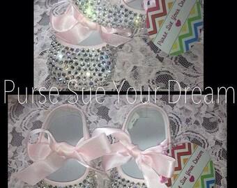 Crystal Rhinestone Infant Size Ballet Shoes - Swarovski Crystal Shoes - Christening/Baptism/Pageant/Wedding Shoes