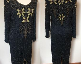 Vintage 1980s Alisha Art Deco Beaded Dress - UK Size 12 - 14/US Size 8 - 10