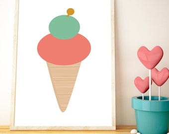 Ice-cream // LOVE  your walls by Fossdesign //  Instant Download Poster A3 // children's room nursery playroom kids