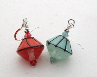 Yes and No Earrings, Beach Umbrella, Port and Starboard, Non Matching Earrings with Handmade Lampwork Glass Beads, Red and Green