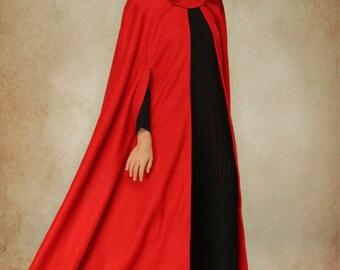 Red Wool Cloak Coat, Hooded Coat Jacket, Maxi Coat, Wool Coat, Wool Jacket, Wool Hooded Cloak Cape. Winter Warm Coat