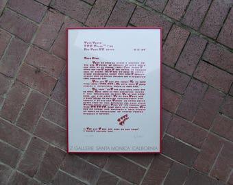 Vintage Valentine,  Love Letter Framed Poster, Graphic Hearts, Z Gallerie Santa Monica 1981, Valentines Day