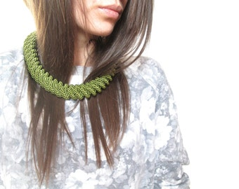 Green Rope necklace Green statement necklace Knot Rope Necklace