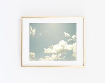Sky photography print - Blue sky photo print - Modern wall art - Gallery wall ideas - Cloud art print - Digital download - Printable photo