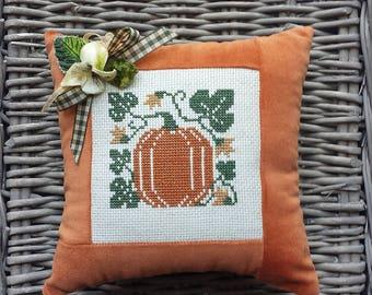 Pumpkin Cross Stitch Pillow - Pumpkin Pillow - Fall Pillow - Halloween Pillow - Halloween Pumpkin - Primitive Pumpkin - Halloween Decoration