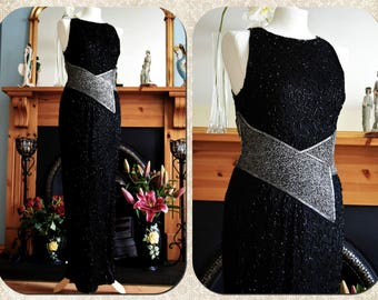 Art Deco full lenght Vintage Beaded Silk Evening Gown Avant Garde Black Silver Stage Hollywood Goddess Goth Steampunk Dress Size UK 10 US 6