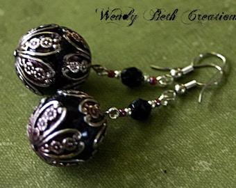 Filigree Orb Steampunk Earrings - Floral, Brown, Silver, Black, Glass Bead, One of a Kind, Belly Dance, Elegant
