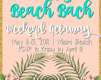 Beach getaway invite Etsy