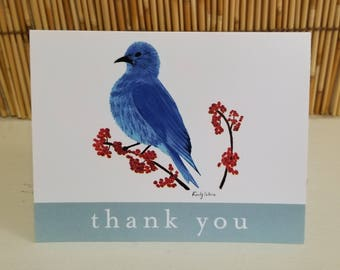 Set of six greeting thank you card with hand drawn bird