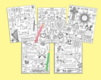 Bible verse coloring pages. Set of 5 Instant download printable. Christian coloring sheets PDF diy digital art Kid or Adult coloring sheets.