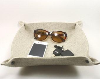 Valet Tray Leather Alternative Catchall Catch All Dish in 5mm Merino Wool Felt
