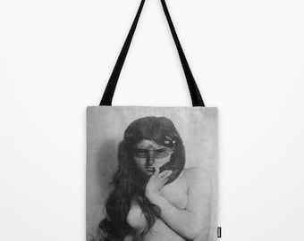 Vintage Portrait Tote Bag - Graphic Tote Bag - Indie Tote Bag - Shopping Bag - Designer Tote Bag - EcoFriendly Bag -