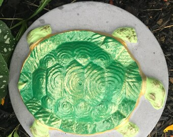 10 Inch Round Hand Painted Concrete Turtle Stepping Stone, Garden Stone