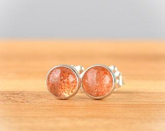 Natural Sunstone Stud Earrings, Orange Gemstone Minimalist Post Earrings: 14k Gold Filled, Sterling Silver or Oxidized Silver