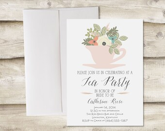 Tea Party Bridal Shower Invitation, Tea Party Baby Shower Invitation, Bridal Shower Tea Party Invitation, A Baby is Brewing Invitation