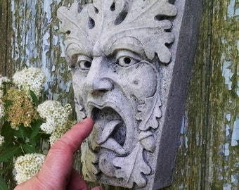 Green Man, Mouth Of Truth, Keystone Leaf Face, Greenman, Garden Art,  Renaissance Element, Medieval Sculpture, Gothic New York, Chalifour