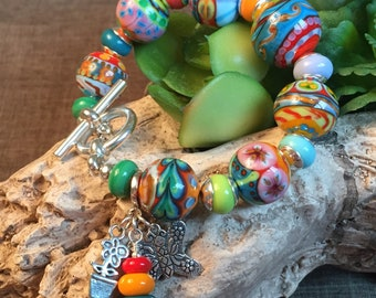 COLOR MY WORLD, artisan lampwork and sterling silver bracelet