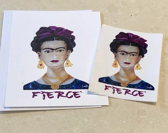 Frida Kahlo- Frida - Kahlo - Frida Art - Frida Card - Frida Sticker, Frida Kahlo Art- Frida Kahlo inspired- viva la vida- feminist card