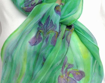silk scarf chiffon hand painted Wild Iris long unique green lavender purple wearable art women luxury original