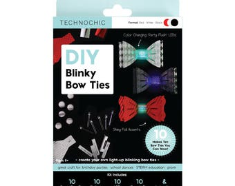 TechnoChic DIY Blinky Bow Ties Kit - Formal - The Toy Box - Red, Black, Silver, Tech-Craft kit for STEM, DIY light-up bow ties are cool!
