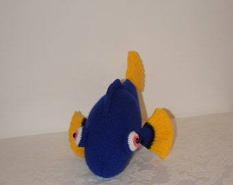 Hand knitted blue tang fish inspired by Dory and knitted by Liz