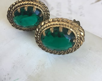 Vintage Emerald Clip On Earrings Western Germany, Elegant Estate Jewelry