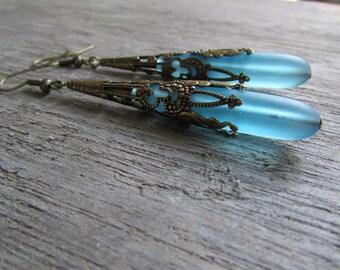 Long sea glass ear rings beach glass jewelry  earrings-bridesmaid earrings- teardrop  antique bronze extra long earrings