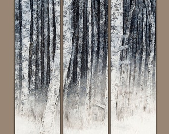 Birch Trees - Birch Tree Art - Birch Tree Art - Triptych - Birch Tree - Tree Art- Tree Painting - Landscape Painting - Three Panel Wall Art