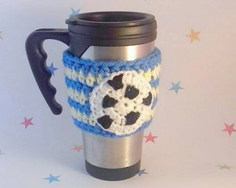 Football Mug Sleeve, Gift for him, Dad Gift, Football Supporter, Football Mascot, Soccer Mug Cozies, Beer Cosy, Football Party, Football Fan
