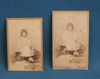 Antique photo Photograph 1800's 1898 lot of 2 girl in a dress breslau Poland