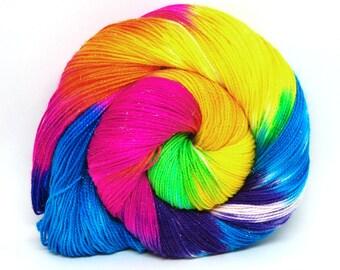 "Glam Rock Sparkle Sock Yarn - ""Milky Way"" -  Handpainted Superwash Merino - 438 Yards"