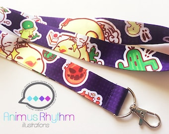 Final Fantasy Mascot Lanyard badge holder game Fat Chocobo Bomb Cactuar Tonberry Goobbue