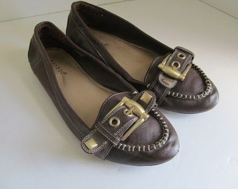 Brown Flat Mule Shoes Brown Slip on Shoes sz 9 brown Flat Shoes with Buckles Brown Leather Shoes sz 9