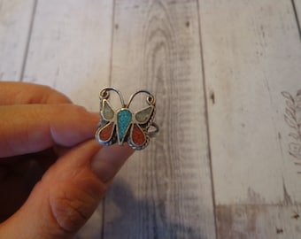 Southwestern Butterfly Ring 925 Sterling Silver and Multi-Stone Circa 1960s, Estate Find, Size 5 1/2 Pinky Ring