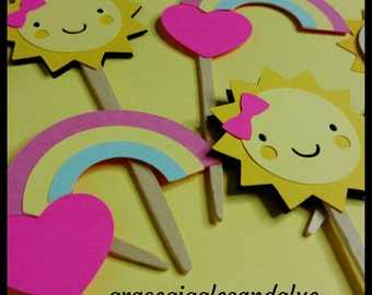 """12 """"You Are My Sunshine"""" themed Cupcake Toppers, Sunshine Cupcake Toppers"""