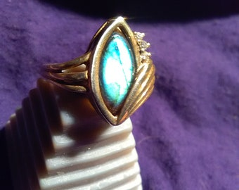 Full flash sterling silver labradorite ring size 6