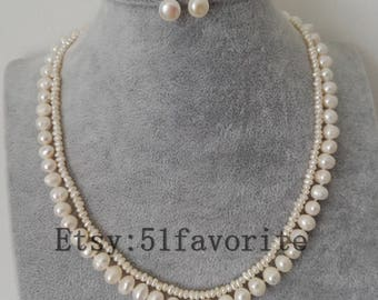 2 row 2-3mm, 7-8mm cultured white fresh water pearl wedding necklace, Baroque pearl necklace, Baroque pearl necklace