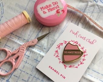 Baby pink and gold SEAMSTRESS hard enamel pin - seamstress pin - gift for seamstress - gift for sewist - sewing gift - sewing enamel pin