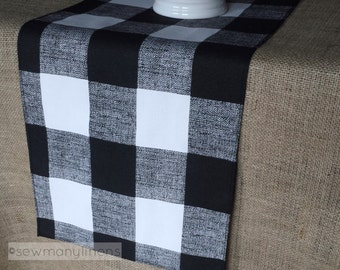 Black Plaid Buffalo Check Table Runner Table Centerpiece Gingham Check Dining Room Home Decor Country Kitchen Linens