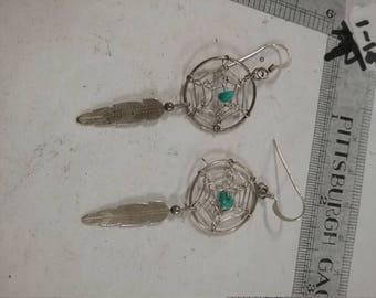 Vintage used silvertone dreamcatcher earrings lotTF