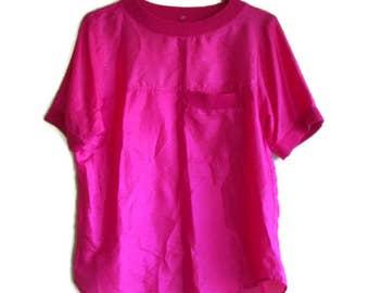 Vintage Pink Top, Womens Pink Blouse, Silk top, Silk blouse, Hot pink top, Vintage Womens Blouse,  Size M