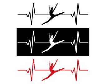 Female Ballet Dancer / Ballerina Heartbeat Decal / Sticker - IDS-030