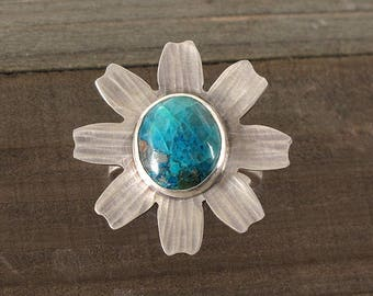 Sterling Silver and Shattuckite Daisy Ring, One of a Kind, Boho, Hammered & Oxidized Silver, Statement Ring, Blue Marguerite Daisy Big Ring