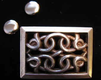 Steam Punk or Celtic CUT-OUT ornament BADGE, pewter. With two studs. 1 x 1 1/4 inch.