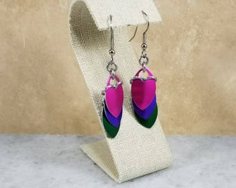Scale Maille Chainmaille Earrings - Pink - Purple - Green