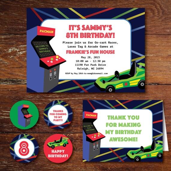 Arcade game gocart laser tag birthday party invitation set
