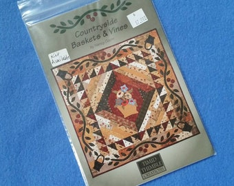 """Countryside Baskets and Vines by Nancy Odom for Timid Thimble Creations, 40"""" x 40"""" uncut sewing pattern square quilt pattern 542"""