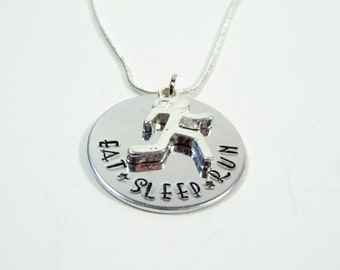 Eat Sleep Run hand stamped necklace! Runners inspiration. Runners Necklace