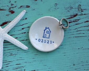 Zip Code Mini Ceramic Dish, Personalized Mini Dish with House and Zip Code, Custom Mini Ceramic Dish with Zip Code