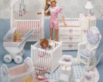 Vintage Plastic Canvas Pattern:  Fashion DOLL NURSERY - BARBIE Size - c. 1991 - Crib...Playpen...Potty Chair...High Chair...Rocker...